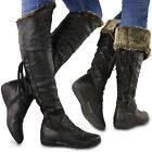 NEW WOMENS LADIES FLAT OVER THE KNEE THIGH BOOTS LACE UP WINTER FUR LINED SIZE