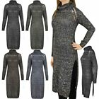 WOMENS LADIES LONG POLO NECK WINTER THICK WARM WOOL JUMPER TOP SPLIT MAXI SIZE