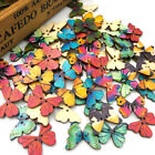 10/50/100Pcs Mix Wood Buttons Butterfly DIY Craft Scrapbook Sewing Appliques W43
