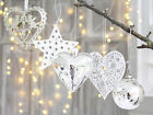 CHRISTMAS DECORATIONS HEART SNOWFLAKE STAR ANTIQUE WHITE BAUBLE FRENCH WEDDING