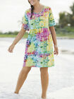 Ulla Popken Yellow SUNNY DAYS Print Cotton Knit Empire Dress Size 12/14 LAST ONE