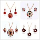 Colorful Bright Jewelry Sets 18K Gold Plated Striking Pendant Necklace Earrings