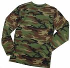BRITISH ARMY STYLE LONG SLEEVED T SHIRT DPM WOODLAND CAMO NEW