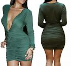 Sexy Lady Long Sleeve Deep V Pleated Evening Cocktail Bandage Bodycon Slim Dress