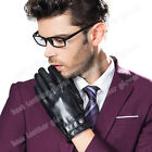Men's Driving Genuine Lambskin Leather Gloves For Men With Button Two Colors New