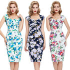 LADIES 50'S 60S RETRO VINTAGE FLORAL WIGGLE EVENING PARTY PINUP DRESS