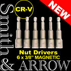 "6 x NUT SETTER DRIVER HEX 3/8"" 10mm SOCKET BIT MAGNETIC DRILL NUTSETTER ADAPTOR"