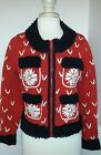 Michael Simon red Womens M Christmas sweater ugly contest white snowflake