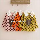 Kids Baby Girl Polka Dot Cartoon Cat Velvet Collar Tops Pullover Coat Dress 2-7T