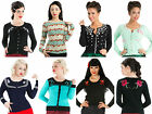 New Womens Cardigan Top Knitted Jumper Vintage Work Rockabilly 50s UK Size 8-22