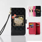 Cute Bowknot Hello Kitty Wristlet Leather Card Slot Strap Wallet Flip Case Cover