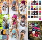 Women CC beanie Cable Knit Super Cute Beanie Thick Cap Hat Unisex Slouchy Ho