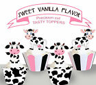 Black and White Cow Farm Birthday Party EDIBLE wafer 15 Cupcake Toppers cup cake