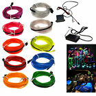 6M 8M 10M 20M 50M Neon LED Light Glow EL Wire String Strip Rope Tube +Controller