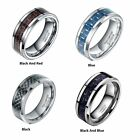 8MM Men's Tungsten Ring With Carbon Fiber  Black And Red Wedding Band Jewelry