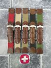20mm Leather Nylon Strap Watch Band Brown Green Beige Black WENGER SWISS ARMY