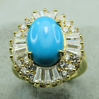 18K Yellow Gold Filled Turquoise Clear CZ Women Vintage Jewelry Band Ring R1868