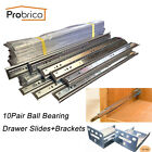 Probrico 10Sets Ball Bearing Drawer Slides/Glides or Brackets Soft Close Runners