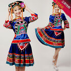 NEW Girls Chinese Minority Folk Clothing Tujia Miao Dance Costume Yao Women Suit
