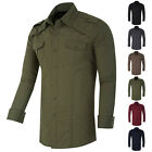 Men's Fashion Business Work Slim Fit Long Sleeve Military Dress Shirt Tops S-XL