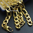 60cm, 70cm MENS Chain Gold Tone Curb Link Stainless Steel Necklace 9mm W N307