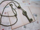Key Necklace Antique Bronze Charm Pendant Steampunk Vintage Costume Jewellery