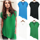 Women V-Neck Loose Chiffon Blouse Short Sleeve Irregular Hem Shirt Tops r5