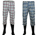 Mens Shorts Navy & White Summer Beach Surf Swim Checked 3/4 Three Quater