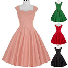 Women Housewife Vintage Retro 50s 60s Swing Party Pinup Evening Dress