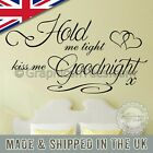 Kiss Me Goodnight, Bedroom Wall Sticker, Romantic Love Quote, with Hearts