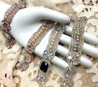 """Majestic Collection STONES 3/4X6.5"""" PEARLS GLASS BEADS 1pc CUFF BRIDAL HAIR"""