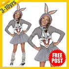 RUBIES Girls Costume Fancy Dress Licensed Looney Tunes Bugs Bunny Hooded 610670