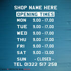 Opening Hours Times Shop Window Sign Wall Vinyl Sticker Small Decal