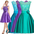 Women's Bateau Neck Lace Short Evening Gown Bridesmaid Dress Homecoming Prom New