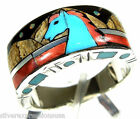 Mulicolor Inlay & Fire Opal Horse 925 Sterling Silver Men's, Women's Ring 9-12.5