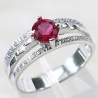 IMPRESSIVE ROUND CUT RUBY 925 STERLING SILVER RING SIZE 5-9