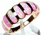 HOT! Rose Gold 925 Sterling Silver Pink Fire Opal Inlay Band Ring size 6