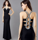 Womens Long Maxi Bridesmaid Formal Graduation Ball Gown Evening Prom Party Dress