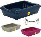 Cat Large Litter Tray + Rim 50x38x14cm 4 Colours Quality Box Toilet Scoop Loo