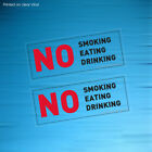 NO SMOKING EATING DRINKING CLEAR SIGN TAXI MINI CAB VEHICLE CAR VAN STICKERS X 2