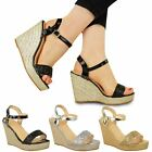 WOMENS LADIES WEDGE HIGH HEEL SANDALS PARTY SUMMER ANKLE STRAP BEACH SHOES SIZE