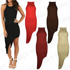 Womens Asymmetric Slinky Ribbed Bodycon Ladies Celebs Inspired Party Dress 8-14