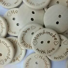 Cute 100pcs Handmade Love Wood Buttons 20mm Sewing Craft  Buttons Wholesales