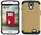 GOLD & BLACK Dazzle Bling Hybrid Cover Case for LG F70 / Access LTE