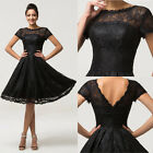 Womens Vintage Short Sleeve 1950s Black Lace Evening Formal Cocktail Party Dress