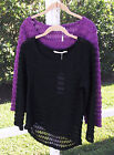 SOLITAIRE CASUAL SOLID BLACK PURPLE POLYESTER LONG SLEEVE KNIT TOP S M L NEW