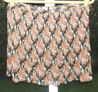 BUFFALO BROWN MULTI FLORAL CRINKLED POLYESTER LINED ABOVE KNEE SKIRT M L NEW