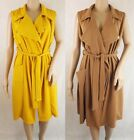 Women's Wrap Over Shirt Dress in Tan or Yellow Size UK 8