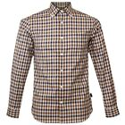 Aquascutum Emsworth Mens Designer Casual Long Sleeve Checked Shirt  Vicuna Check