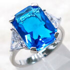 CLASSY 8 CT BLUE TOPAZ 925 STERLING SILVER RING SIZE 5-10
